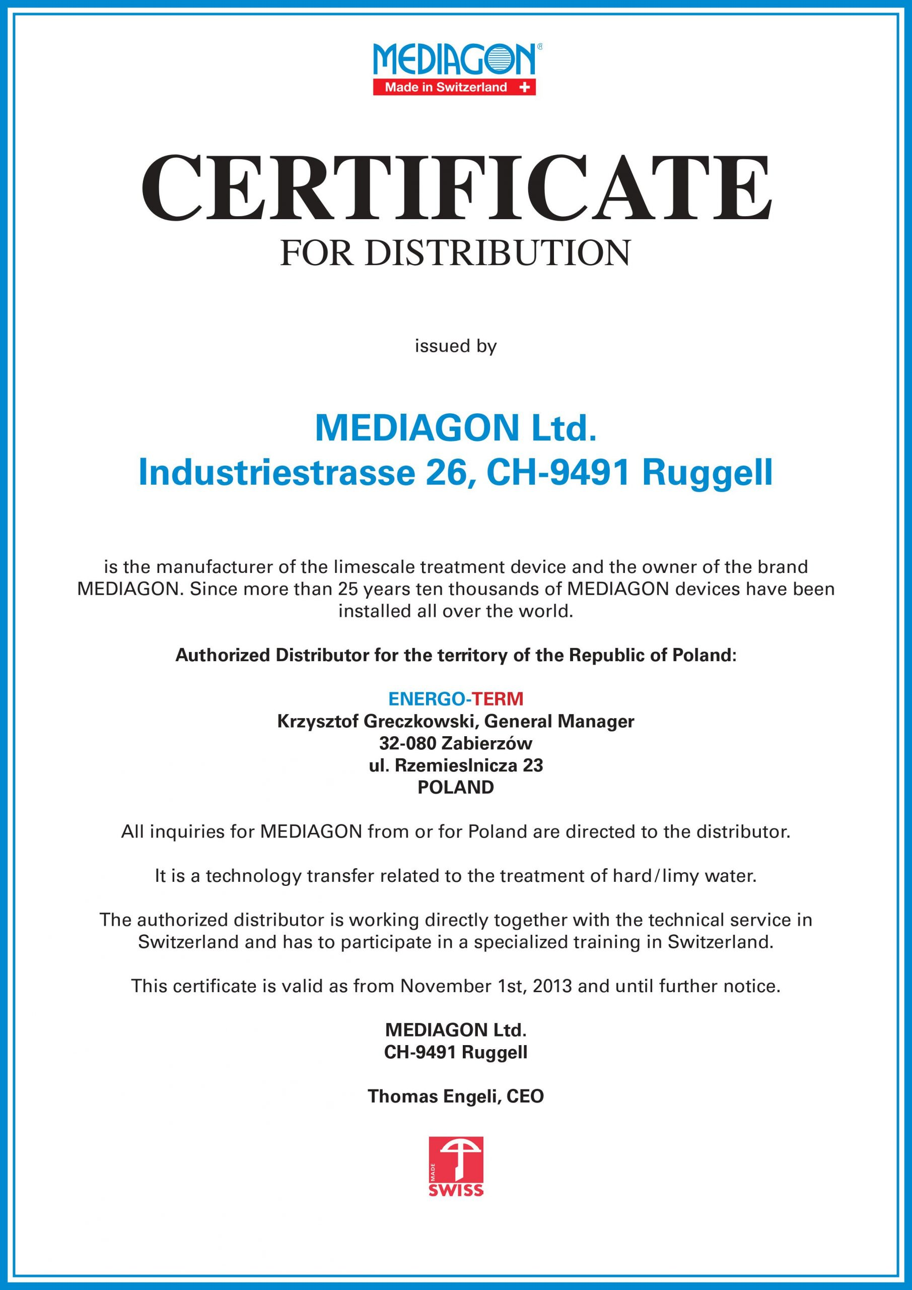 Certyfikat Mediagon